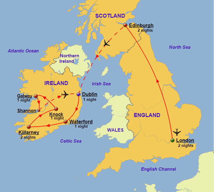 England scotland and ireland glory tours england scotland and ireland map gumiabroncs Gallery