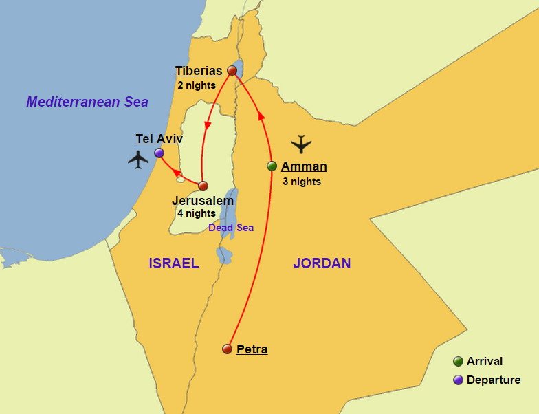 Holy land and turkey glory tours holy land and jordan map gumiabroncs Images