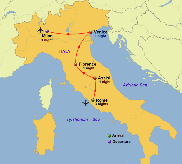 Classic italy group glory tours classic italy map gumiabroncs Images