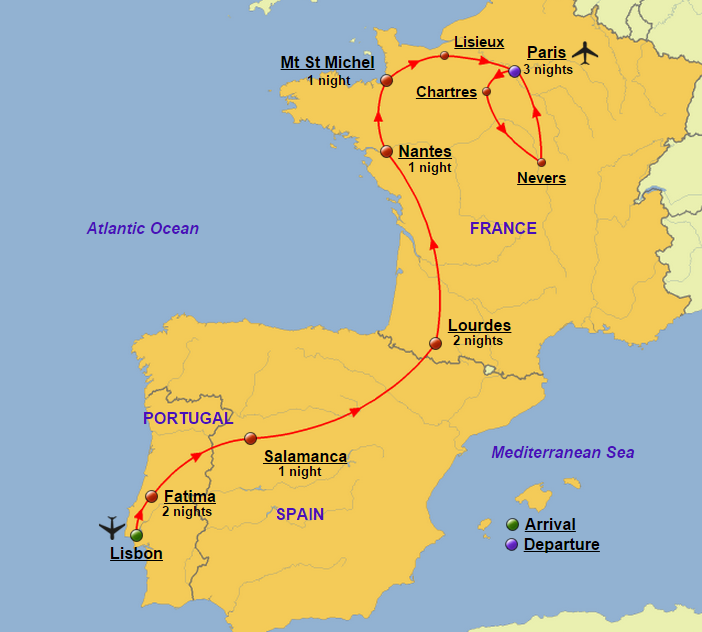 Portugal spain and france glory tours portugal spain and france map gumiabroncs