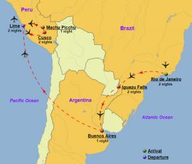 South America, Brazil, Argentina, Peru - Map