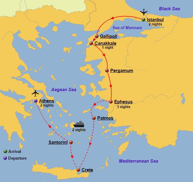 Turkey greece and greek islands cruise glory tours turkey greece and greek islands cruise map gumiabroncs Image collections