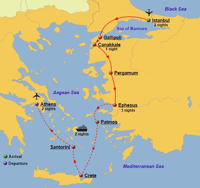 Turkey greece and greek islands cruise glory tours turkey greece and greek islands cruise map gumiabroncs Choice Image