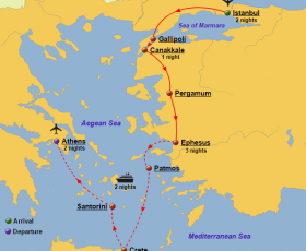 Turkey, Greece and Greek Islands Cruise Map