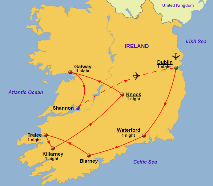 Map Of Ireland Knock.Ireland Group Glory Tours
