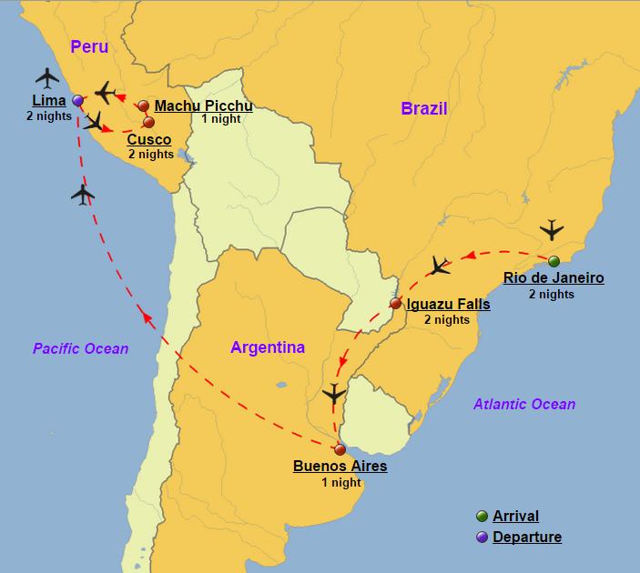 South america brazil argentina peru glory tours south america brazil argentina peru map gumiabroncs Gallery